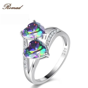 Romad Women Lovers Fashion Jewelry Colorful Double Love Ring Double Love Heart Ring