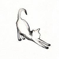 Stretching Cat / watercolor print / grey / Cat / Minimal black and white / Archival