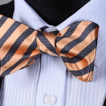 BS3002D Gold Brown Stripe Bowtie Men Silk Party Classic Wedding Self Bow Tie