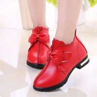 Kids Shoes Girls Leather Casual Bow Knot