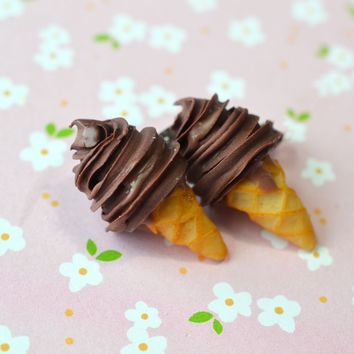chocolate soft serve ice cream cone stud earrings