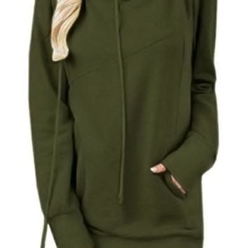 Mode Olive Funnel Neck Long Sleeve Pocket Hoodie