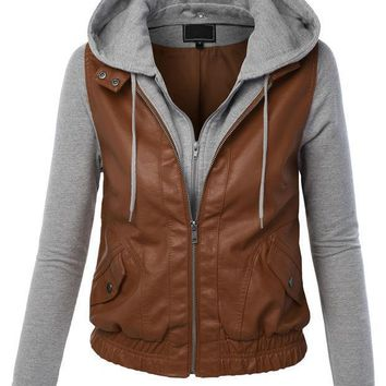Zip Up Moto Biker Jacket With Hoodie