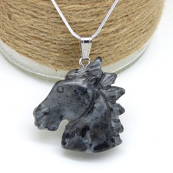 Larvikite Necklace, Carved Horse Pendant, Horse Lover Gift, Equestrian Necklace, Natural Stone Jewelry