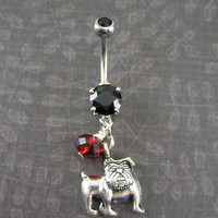 UGA inspired Georgia Bulldog Red & Black CZ Dangle Navel Belly Ring ~ Belly Button Ring, University of GA Football Body Jewelry
