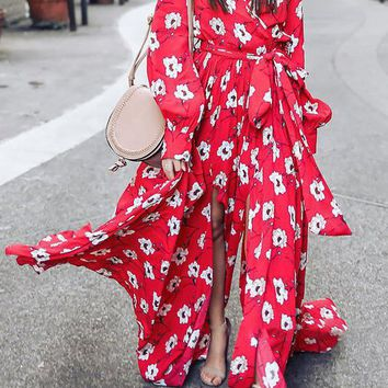 A| Chicloth Surplice Neck Red Maxi Dress A-line Beach Balloon Sleeve Floral Dress