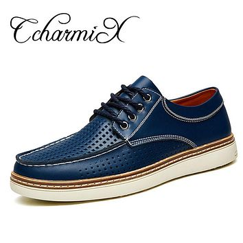 Men Formal Shoes Breathable Lace up Boat Shoes With Hole For Men New Fashion Oxford