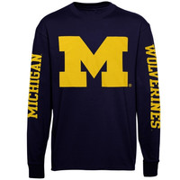 Michigan Wolverines Back To Basics Long Sleeve T-Shirt - Navy Blue