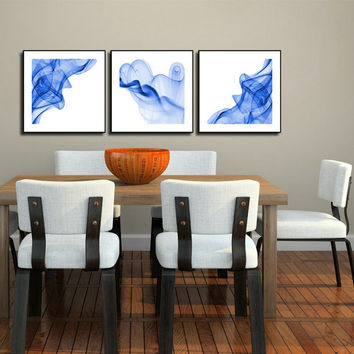 3 Panels Wall Painting Blue Smoked Abstract Canvas Modern Home Room Wall Decor Art HD Large Print Picture Poster Free Shipping