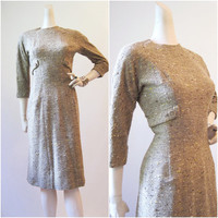 50s 60s Dress Vintage Tweed Fitted Day Dress S by voguevintage