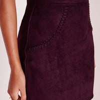 Missguided - Petite Saddle Stitch Faux Suede Mini Skirt Plum