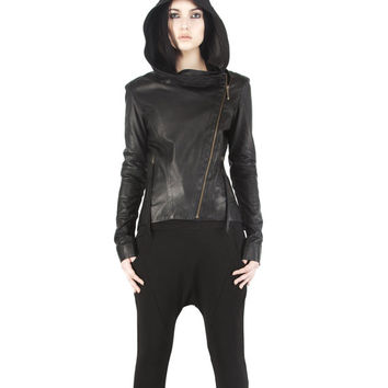 DOVETAIL HOODY - Women's Black Leather Jacket - Lambskin Hoodie, Silk Lining, Hand Cast Zip Pull - Haus of Sparrow - Maker: Monica Wallway