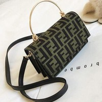 FENDI 2018 new leopard print wild Messenger bag shoulder fashion handbag small square bag