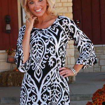 Black & Ivory Damask Print Tunic with Ruffle Sleeves ~ Sizes 4-12
