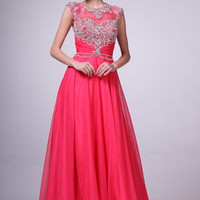 PRIMA 17-8785 Cap Sleeve Jeweled Chiffon A-Line Prom Dress