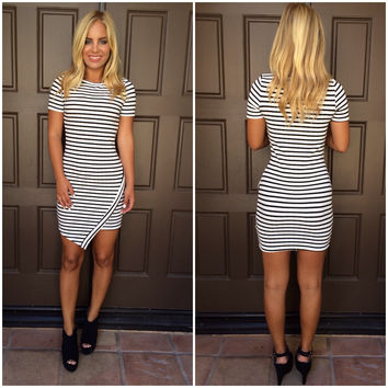 Cherise Striped Cross Over Dress - WHITE & BLACK