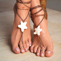 "Women Barefoot Boho Sandals ""Lava rock Star"""