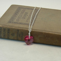 Sterling Silver Necklace, Swarovski Crystal, Swarovski Pendant, Rose Heart, Pink Heart, Faceted Pendant