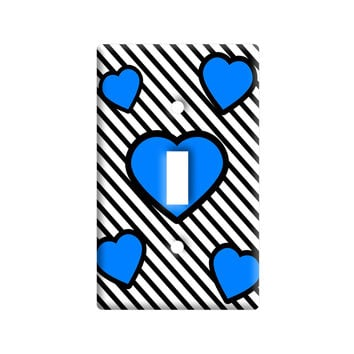 Love Cute Hearts Blue Black Stripes Light Switch Plate Cover
