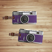 Luggage Tag Set Personalized Retro Purple Camera Custom Luggage Tags - Metal