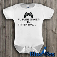 Gamer baby, Funny Baby, Bodysuit, Future Gamer in Training, cute baby clothing, geekery approved, By BlueFoxApparel *131