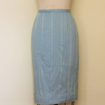 Vintage 1950s Blue Pencil Skirt,Wiggle Skirt by Ardee of California
