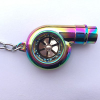 Spinning Turbo Keychain with Whistle