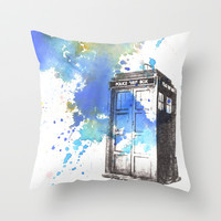 Doctor Who Tardis Throw Pillow by Idillard
