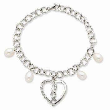 Sterling Silver Cultured Pearl & CZ Hearts Joined Together 7in Bracelet