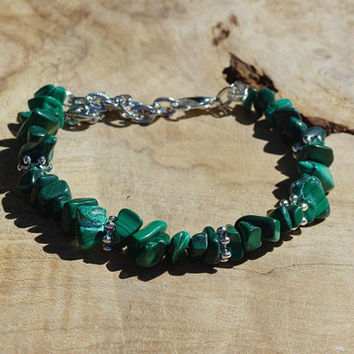 Malachite Bracelet ~ Semi Precious Natural Forest Green Stones  ~ Healing Stones ~ Gift for Teacher ~ New Mom Gift ~ Birthday ~ Anniversary
