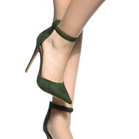 Green Faux Suede Ankle Strap Pointed Toe Pumps @ Cicihot Heel Shoes online store sales:Stiletto Heel Shoes,High Heel Pumps,Womens High Heel Shoes,Prom Shoes,Summer Shoes,Spring Shoes,Spool Heel,Womens Dress Shoes