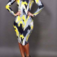 Yellow Printed Backless Bodycon Dress