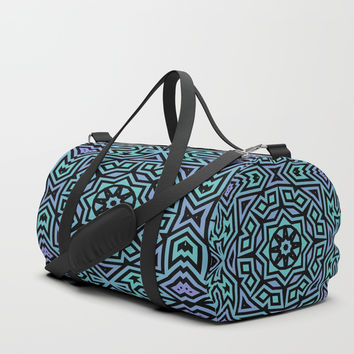 Aqua/Lilac/Black Tribal Pattern Duffle Bag by Lyle Hatch