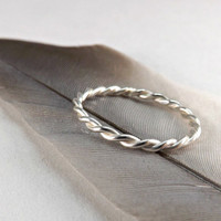 silver rope ring - twisted silver ring - sterling silver ring - fine silver ring - lace ring silver - wedding band - promise ring