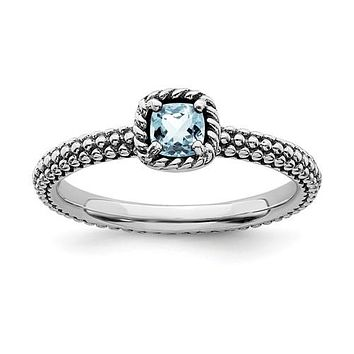 Sterling Silver Stackable Expressions Checker-Cut Light Aquamarine Antiqued Ring