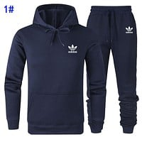 Adidas Fashion Men Women Casual Print Long Sleeve Hoodie Sweater Pants Two Piece Set Sportswear 1#