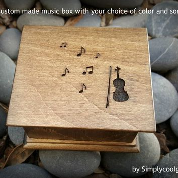 violin, music box, music gift, engraved gift, musical note, music boxes, custom music box, personalized music box, simplycoolgifts,