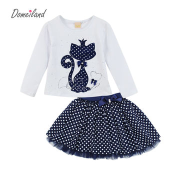 2017 Fashion Spring DOMEILAND Boutique Outfits Baby clothes Girls Sets Cute cat Print Long Sleeve Tops Bow Tutu Skirts suits