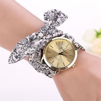 Vintage Floral Printed Fabric Watch Women