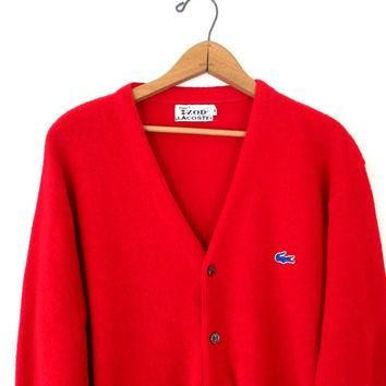 Vintage 1970s Izod Lacoste Red Alligator Cardigan Sweater Sz M