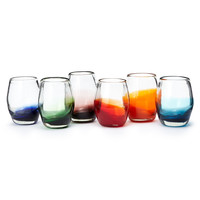 Colored Bottom Stemless Goblets - Set of 6