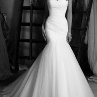 mermaid strapless sweetheart tulle wedding dress chapel train