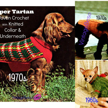 INSTANT DOWNlOAD - PdF Pattern Three (3) DOG KNITTING PAttERNS - Dog Sweater Dog Jacket Dog Coat 70s Knit Patterns Tartan Cable Chihuahua