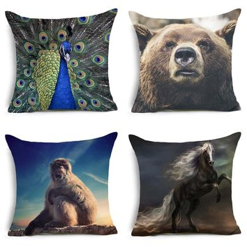 Comwarm Nordic Style Cool Wild Animals Series Pattern Pillow Peacock Snow Monkey Horse Polyester Cushion for Sofa Home Decor Art