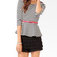 Striped Peplum Top w/ Belt