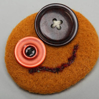 Needle felting brooch of round shape with buttons red funny handmade accessory