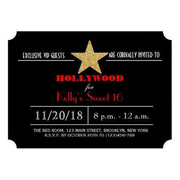 Red Carpet Hollywood Sweet 16 Birthday Invitation
