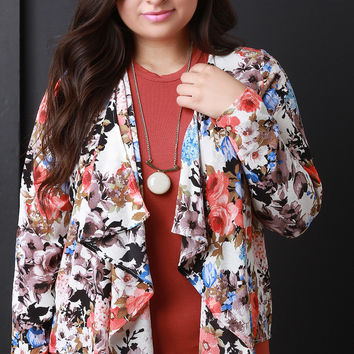 Textured Floral Waterfall Open Front Blazer