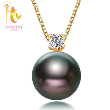 [NYMPH]  pearl jewerly natural Black Tahitian Pearl 18k yellow Gold Pendant Necklace Fine Jewelry for party [DZ1012]