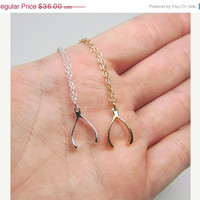 ON SALE Hello February Sterling Silver Wishbone Necklace- Tiny Wishbone- Lucky Wishbone - Valentines Giftt - SHIPS in 1-2 Weeks